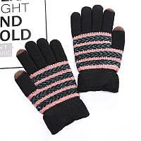 Зимові рукавички унісекс чорні в рожеву смужку опт
