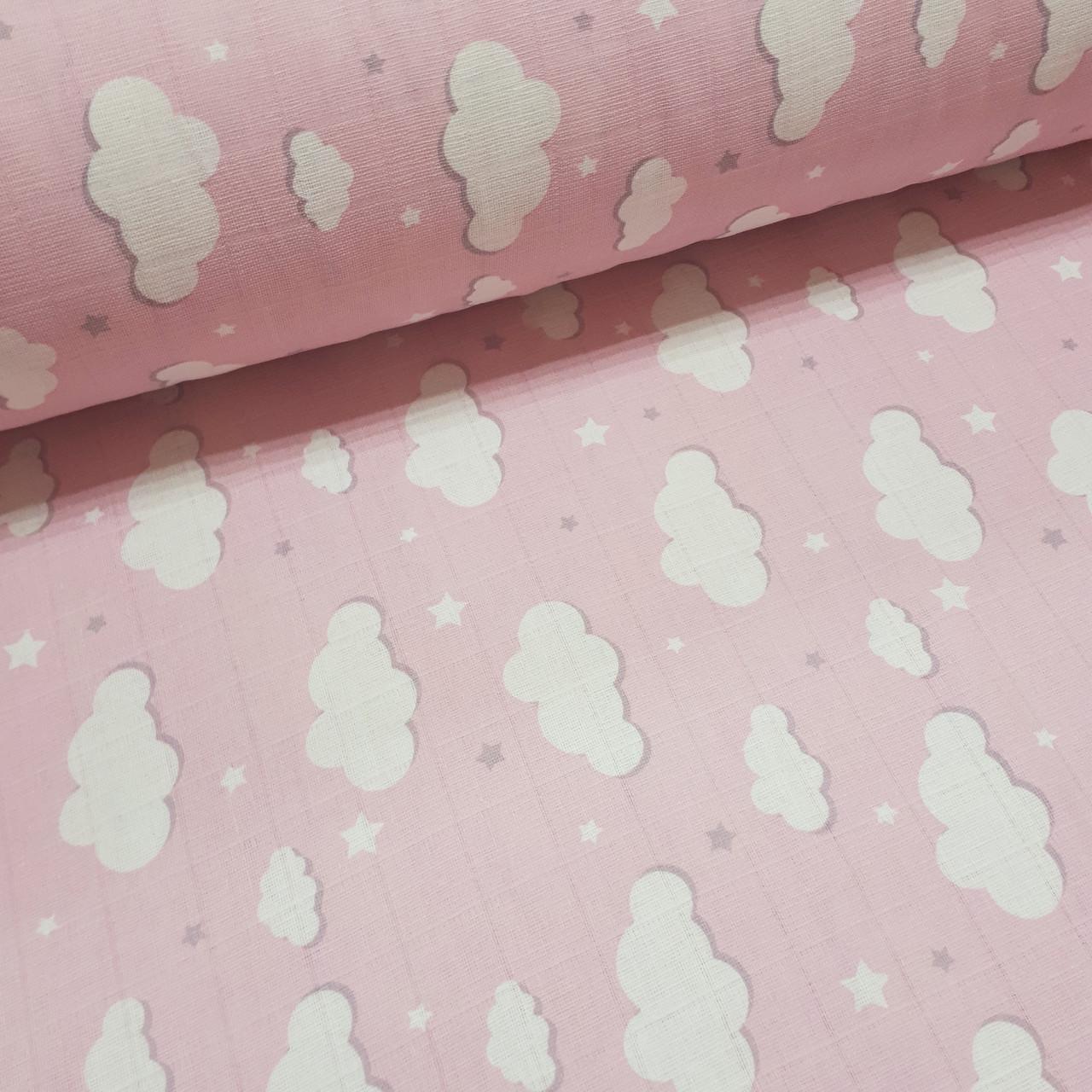 Ткань муслин Двухслойная белые облака на розовом (шир. 1,6 м)