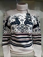 Новогодний свитер с оленями украшен бусинами р. 44-48 Турция