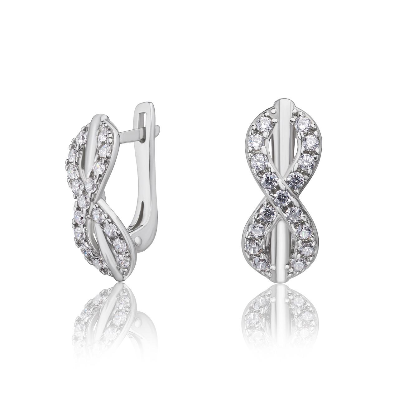 """Срібні сережки з фіанітами """"Нескінченність"""", арт-920064б"""
