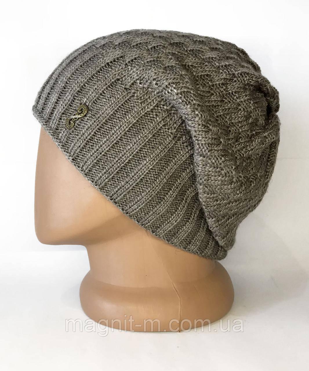 Жіноча шапка з напуском. На флісовій підкладці. Горіховий.