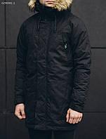 Зимняя парка мужская Staff eco black черная с мехом капюшоном молодежная 2018