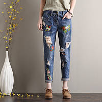 Стильные джинсы женские с вышивкой AL7773, фото 1