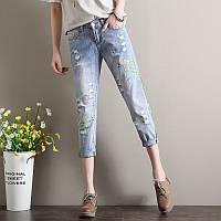 Голубые джинсы женские с вышивкой AL7771, фото 1