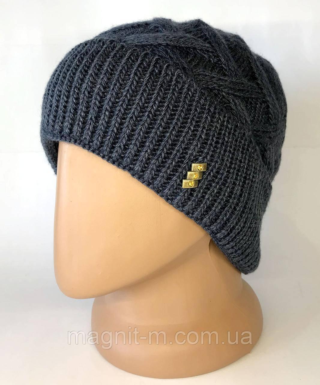 Жіноча шапка з відворотом. Візерунок косичка. Повністю на флісовій підкладці. Синя сталь