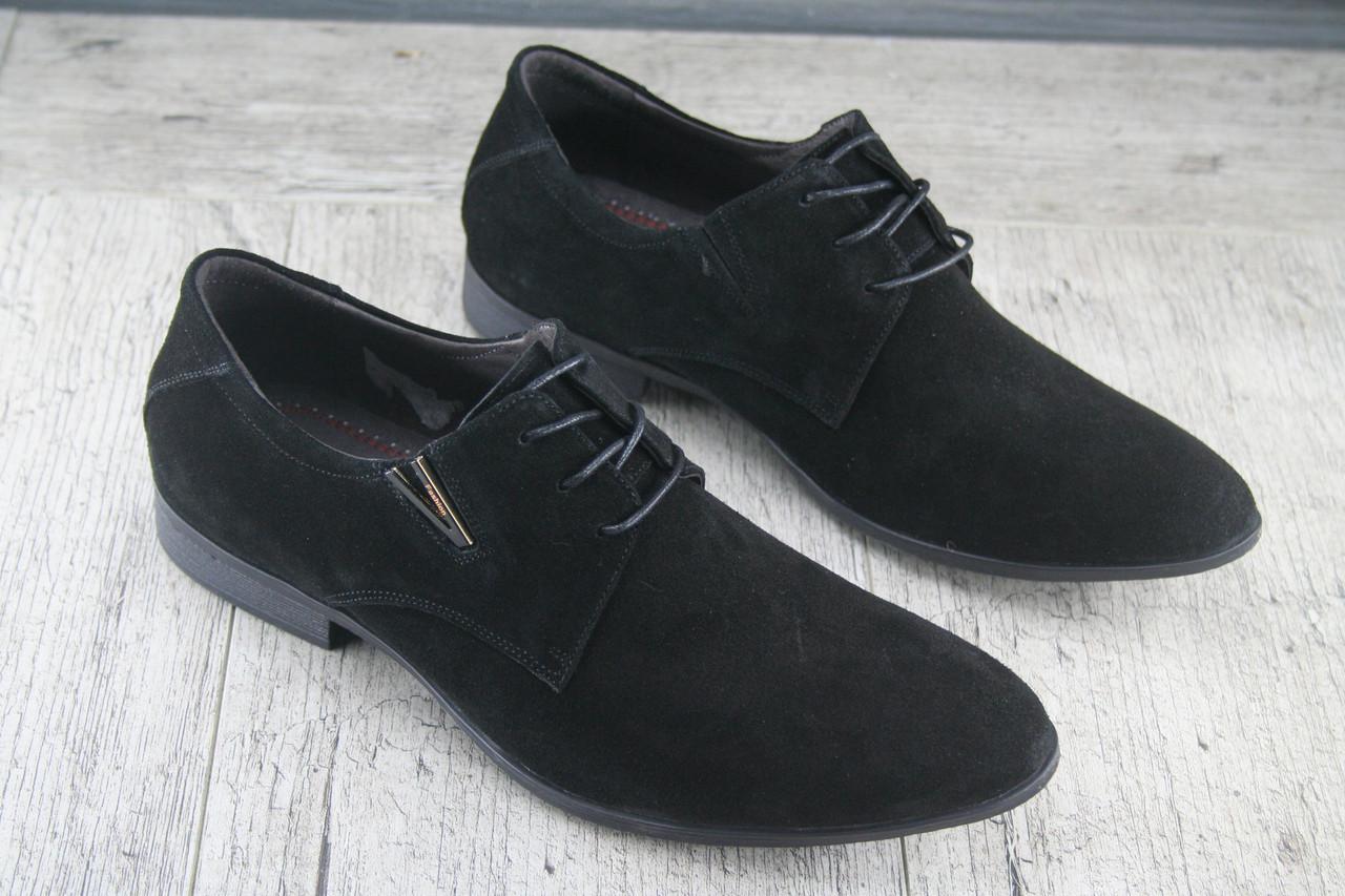 """Туфли классические черные """"Strado Hand Made"""" обувь мужская, НАТУРАЛЬНАЯ ЗАМША, осеняя, повседневная"""