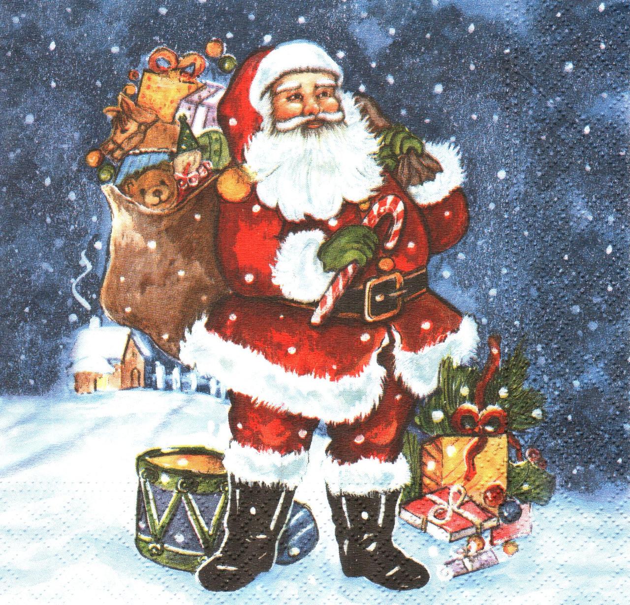Салфетка декупажная Санта с мешком подарков 4308