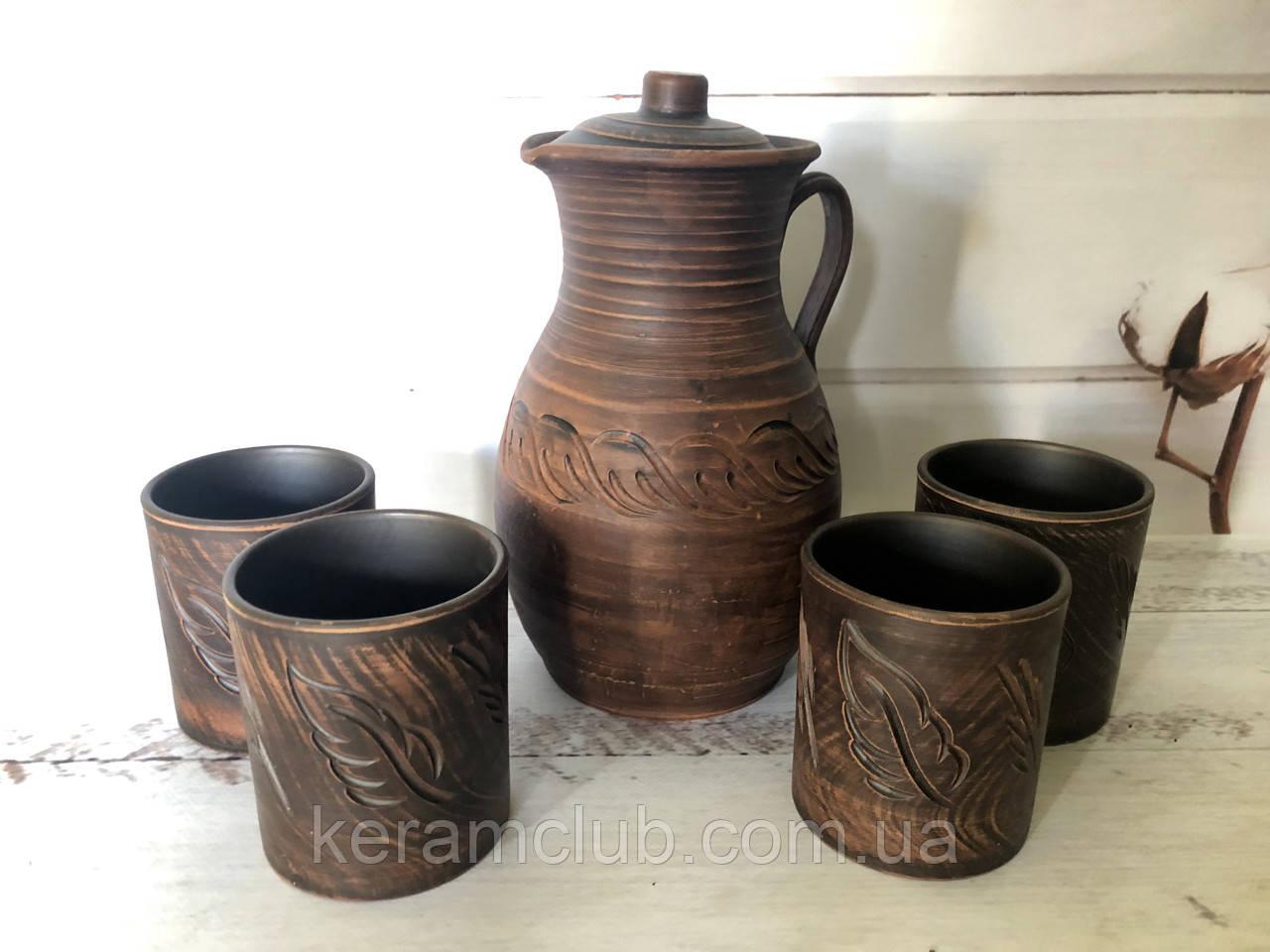 Глиняный набор кувшин 3 л и 4 стакана