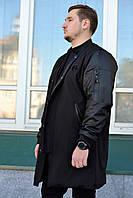 Бомбер мужской удлиненный куртка пальто френч