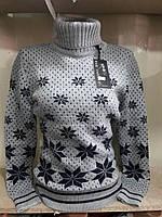 Теплый женский свитер под горло  р. 44-48 Турция