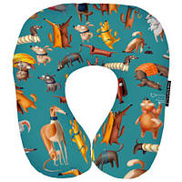 Подушка дорожная рогалик бархатистая ткань 32х29 см