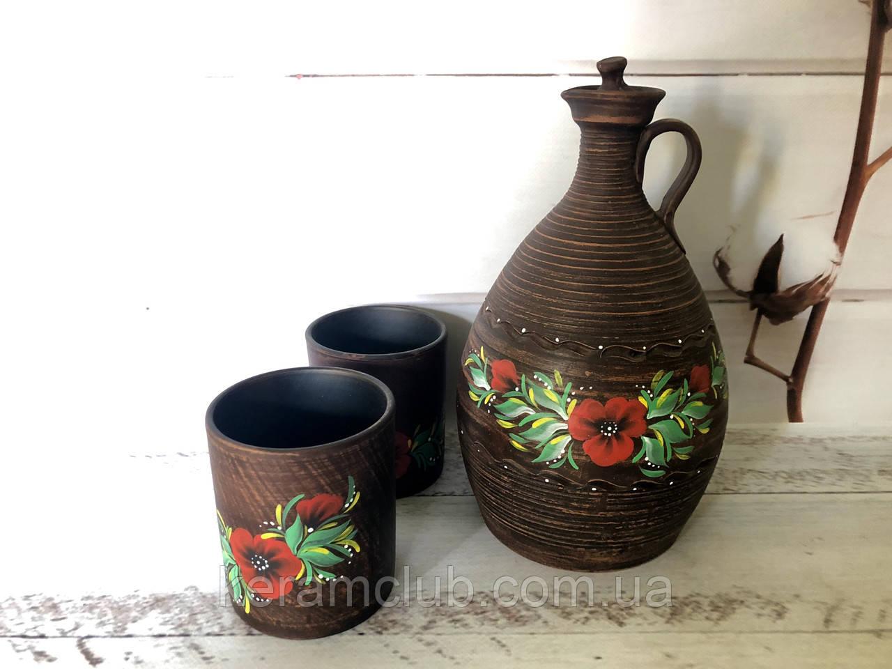 Керамический набор штоф + 2 стакана