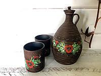 Керамический набор штоф + 2 стакана, фото 1