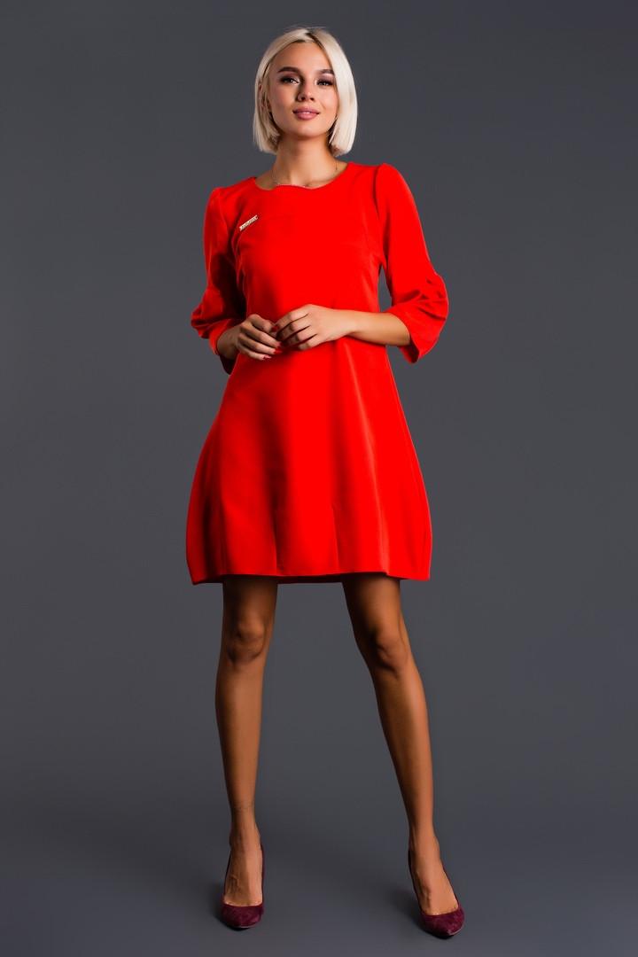 """Короткое платье своюодного кроя """"Сесилия"""" с четвертным рукавом (3 цвета)"""