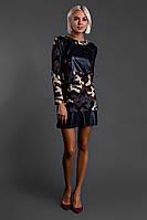 """Стеганое комбинированное мини-платье """"Камуфляж"""" с кожаными вставками"""