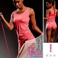Майка женская спортивная Kris Line™. Борцовка для фитнеса и йоги розовый. Одежда для спорта Польша