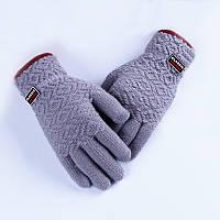 Зимові чоловічі рукавиці Classic світло-сірі опт
