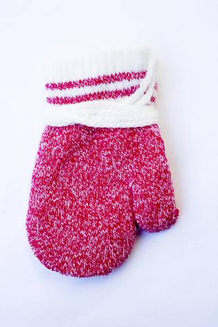 Детская варежка на веревочке красная  для самих маленьких, фото 2