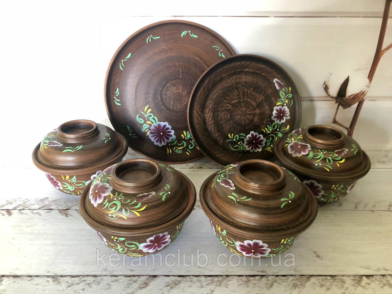 Керамический набор горшочки для запекания 450 мл + тарелки 20 см, 25 см
