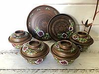 Керамический набор горшочки для запекания 450 мл + тарелки 20 см, 25 см, фото 1