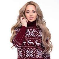 Новогодний теплый женский свитер с оленями р. 44-52