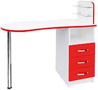 Маникюрный стол с ящиками и стеклянными полочками Эстет №1 М101 Белый, Красный