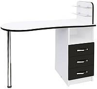 Маникюрный стол с ящиками и стеклянными полочками Эстет №1 М101 Белый, Чёрный