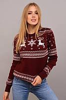 Новогодний теплый женский свитер с оленями р. 42-50