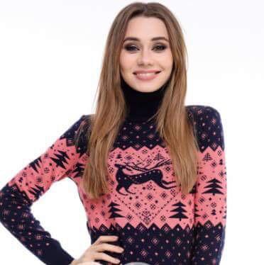 Новогодний женский свитер с оленем и елками р. 44-52
