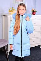 Удлиненная зимняя куртка на девочку «Келли» с натуральным мехом ТМ MANIFIK