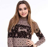 Новогодний женский свитер с оленем и Christmas trees р. 42-50