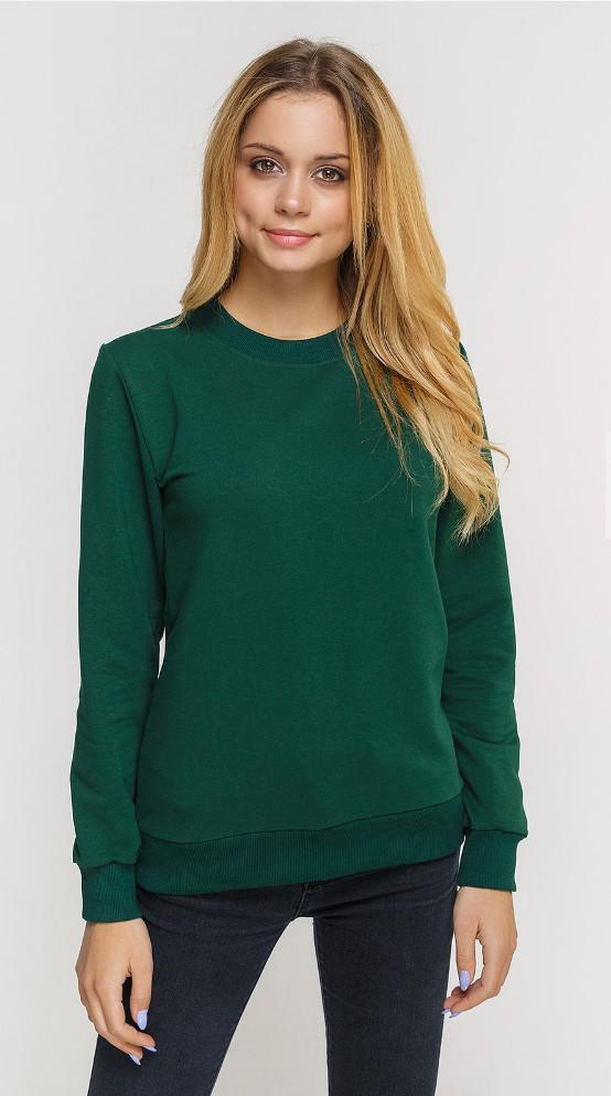 Свитшот женский, темно зеленый под принт