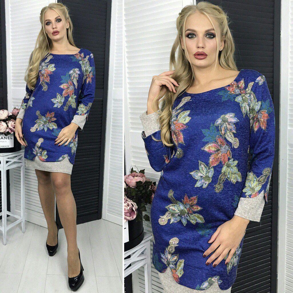"""Стильное женское платье ткань """"Ангора"""" 50, 52, 54 размер батал"""