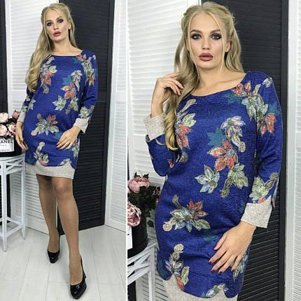 """Стильное женское платье ткань """"Ангора"""" 50, 52, 54 размер батал, фото 2"""