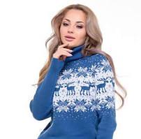 Новогодний женский свитер с оленями и снежинками синий р. 42-50