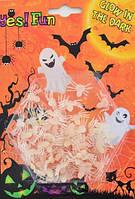 Декор набор белых пауков светящихся в темноте, 50 шт