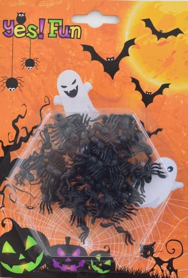 Декор набор пластиковых черных пауков 50 шт