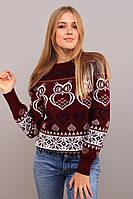 Новогодний женский свитер с совами р. 44-52