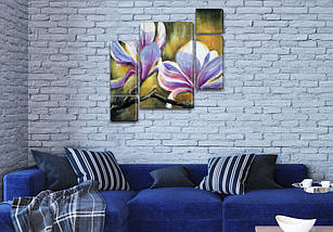 Модульная картина Цветущая ветка на Холсте, 120x130 см, (60x30-2/25х30-2/95x65), фото 3