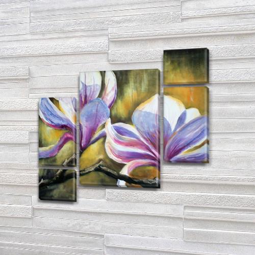 Модульная картина Цветущая ветка на Холсте, 120x130 см, (60x30-2/25х30-2/95x65)