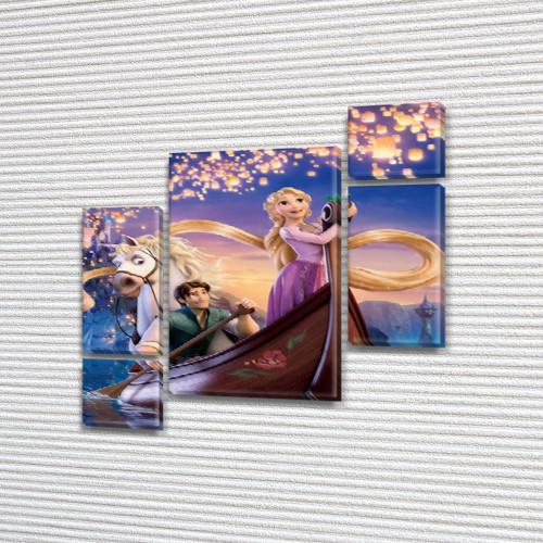 Картина модульная Рапунцель на лодке  для детской, 120x130 см, (60x30-2/25х30-2/95x65)