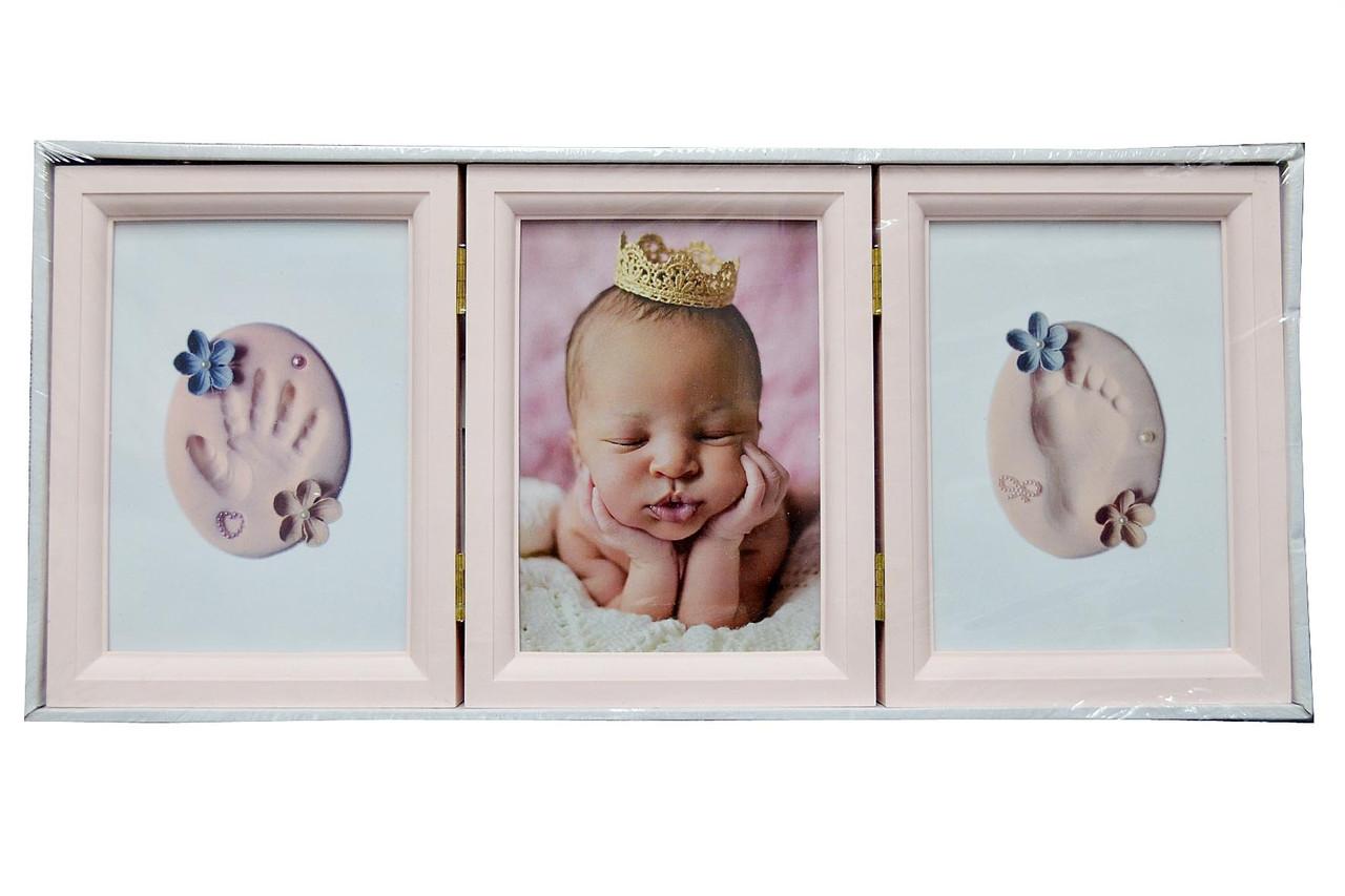 Мультирамка для малышей BABY раскладная, (отпечатки ручки ножки) настольная на 3 фото