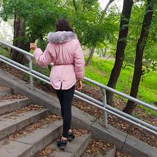 Куртка розовая короткая серый мех на капюшоне Размер L - Код - 215-09, фото 3
