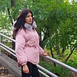 Куртка розовая короткая серый мех на капюшоне Размер L - Код - 215-09, фото 4