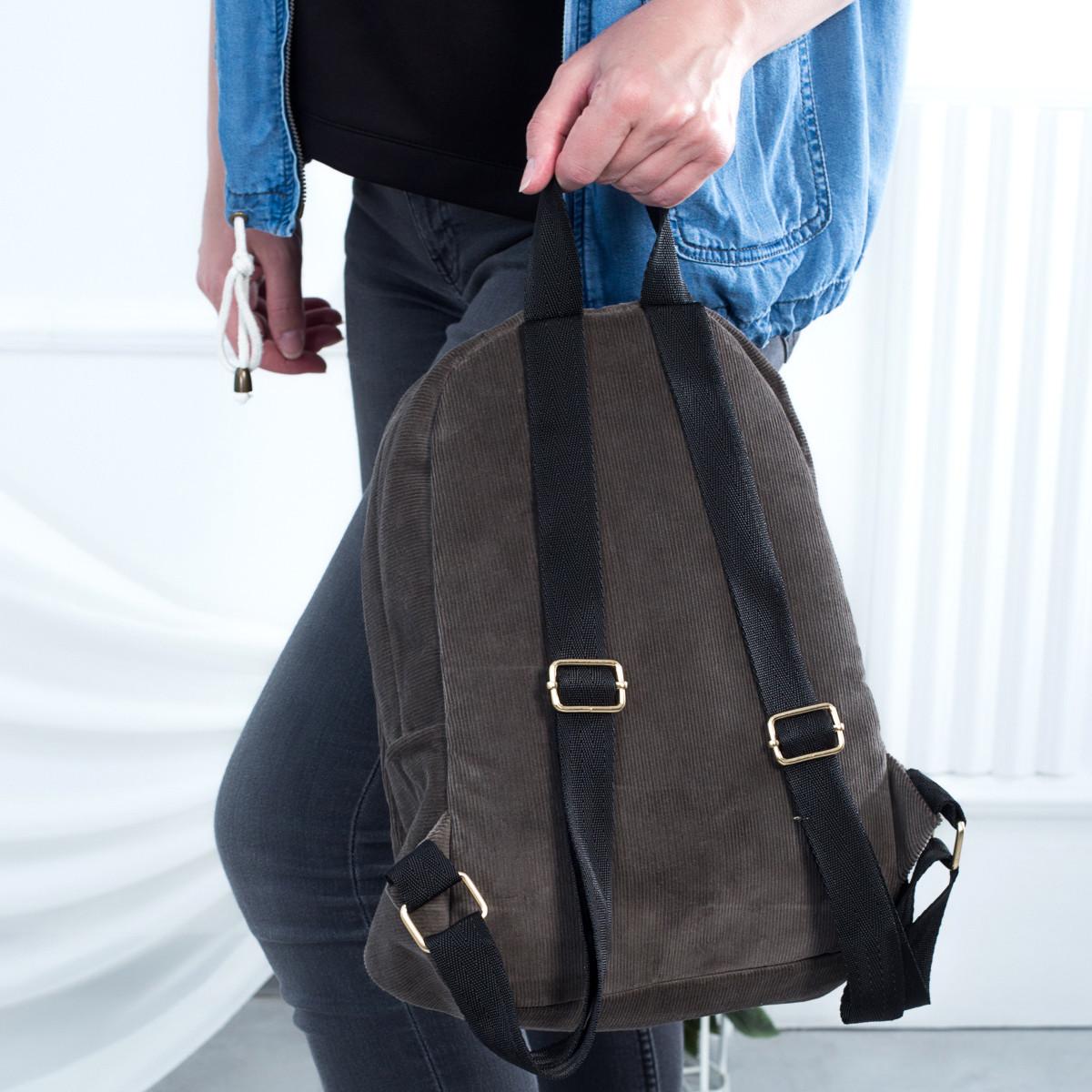 Городской женский вельветовый рюкзак Mayers, серый, фото 2