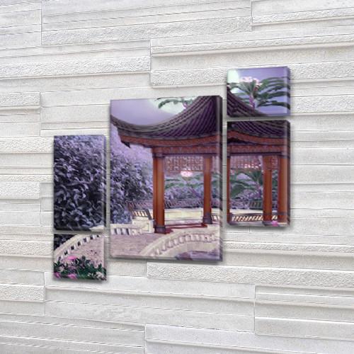 Модульная картина Азиатская арка  на Холсте, 120x130 см, (60x30-2/25х30-2/95x65)
