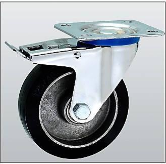 Колесо поворотное с тормозом серия 17 STANDART 1704-ST-124-B