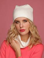 Набор шапка и шарф трикотажные белые 009  , фото 1