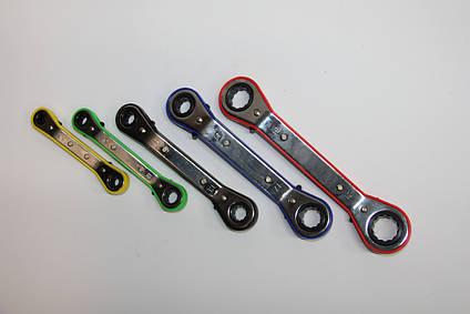 Набор гаечных ключей изогнутых с трещетками 5 предметов в блистере