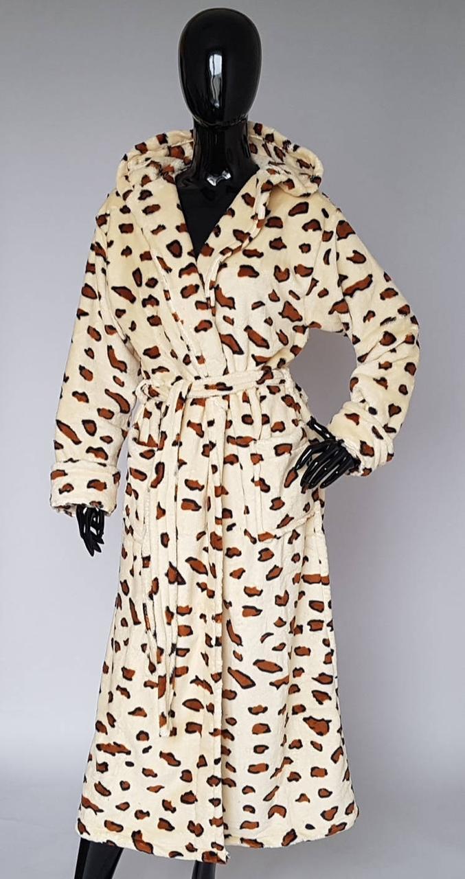 Халат махровий жіночий леопардовий забарвлення